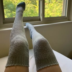 Over-the-knee thigh high grey socks knit crochet